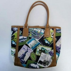 Talbots postcard tote bag, blue green white